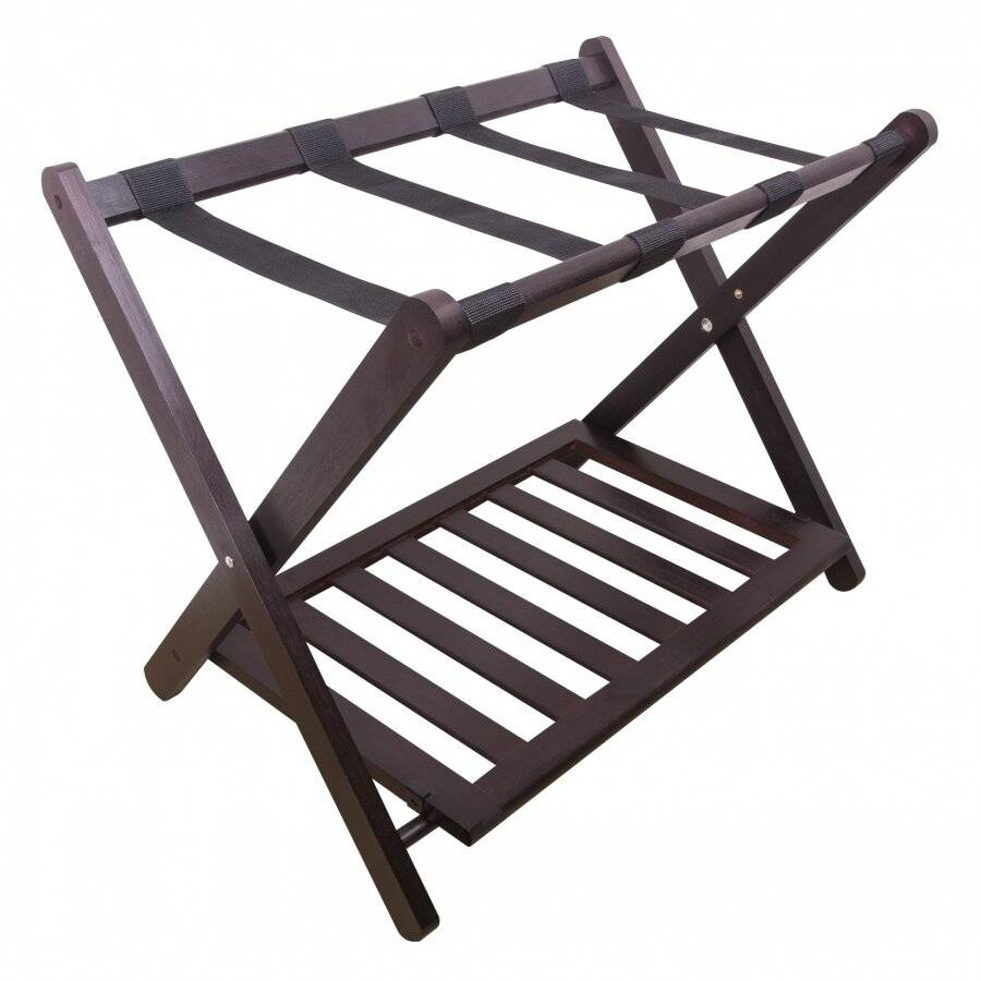 Woodluv Bamboo Folding Luggage Rack or Suitcase Stand - Walnut Dark