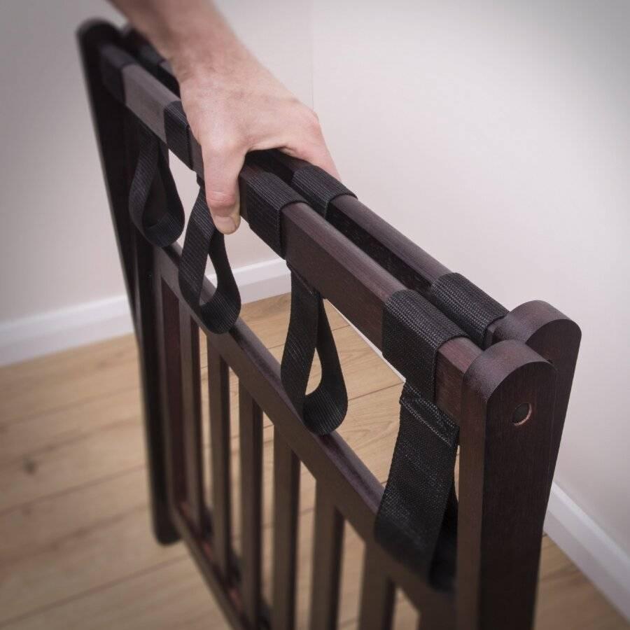 Woodluv Bamboo Folding Luggage Rack or Suitcase Stand - Walnut Dark