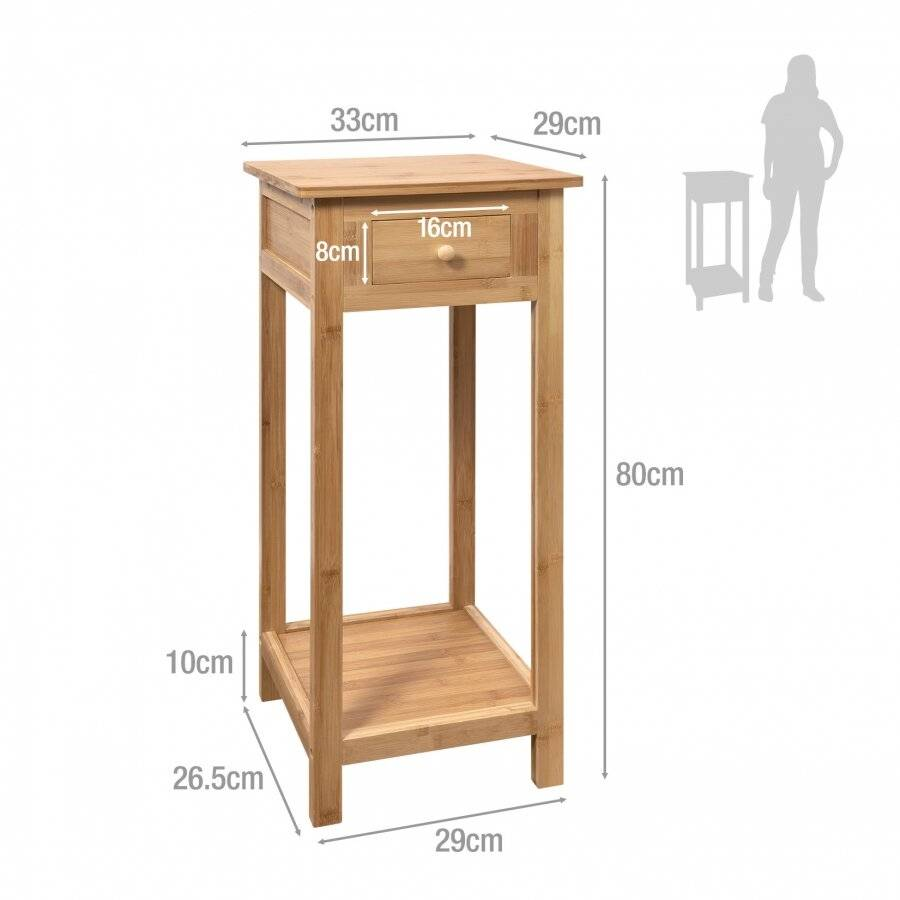 Woodluv Bamboo Free Bedside Table  With One Storage Drawer