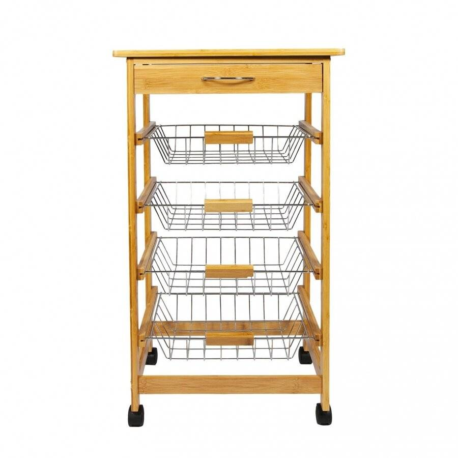 Woodluv Bamboo Kitchen Cart With Drawer and Wire Basket