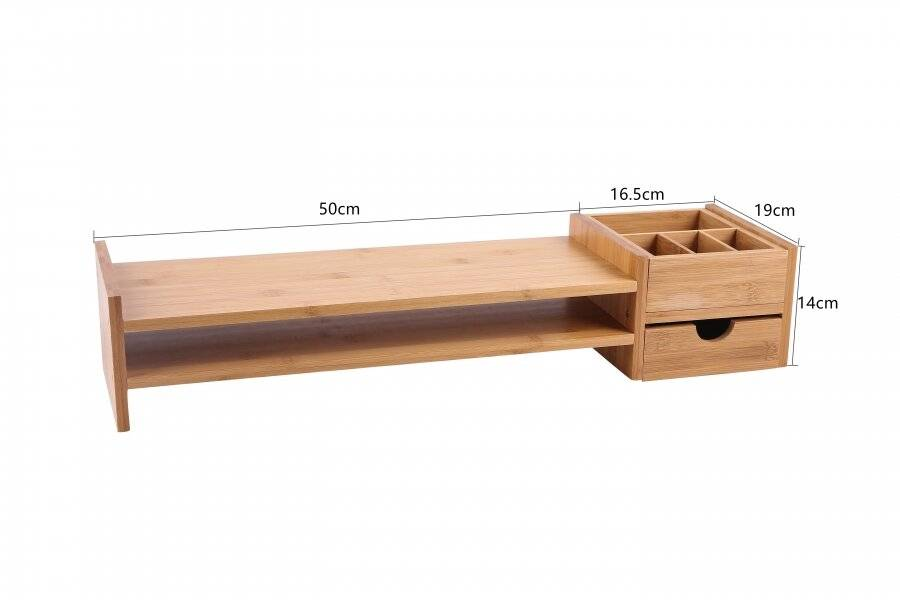 Bamboo PC Laptop Monitor Riser - 2 Shelves, Drawer & a Stationery Slot