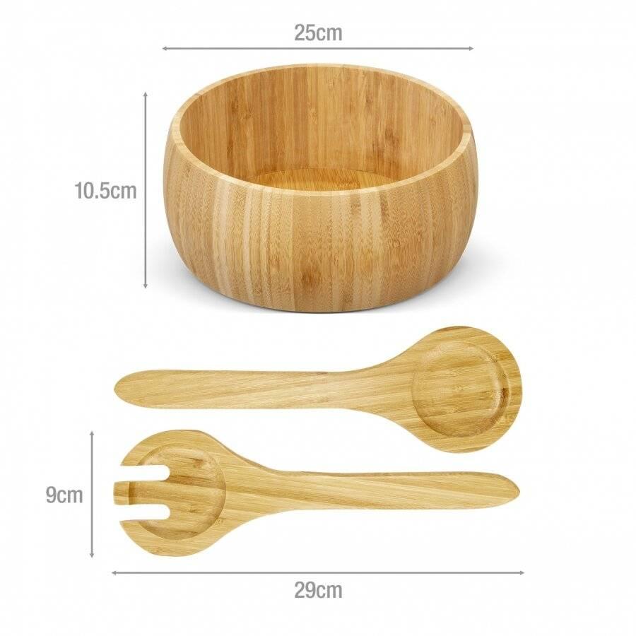 Bamboo Salad Bowls or Fruit Holder With 2 Salad Serving Utensils