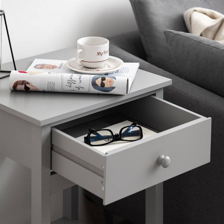 Woodluv Bedside Drawer With Shelf Cabinet MDF Storage Unit - Grey