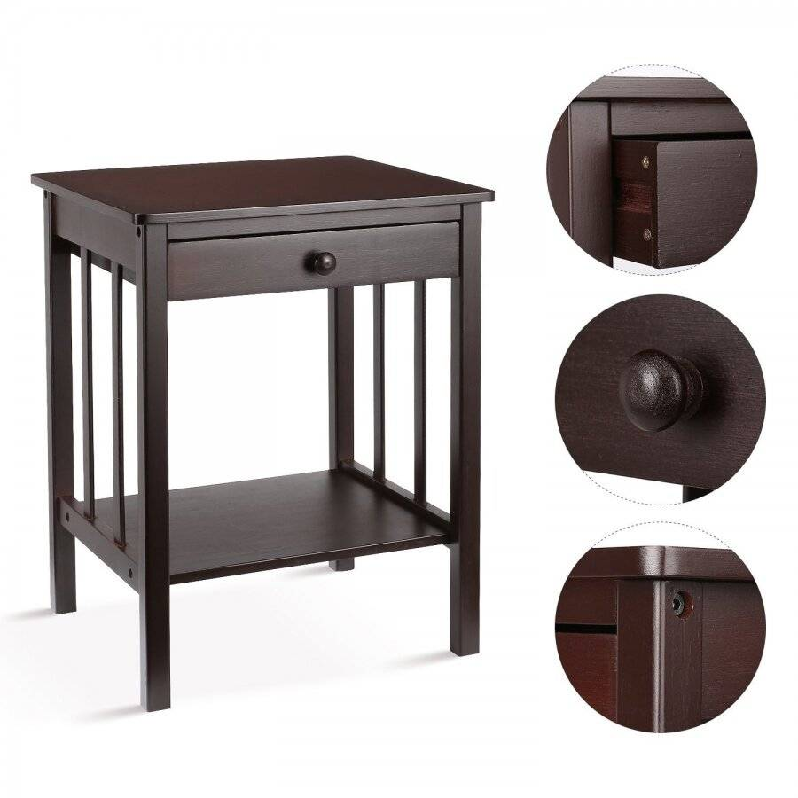 Woodluv Brown Bedside Wooden Storage Cabinet - With Drawer