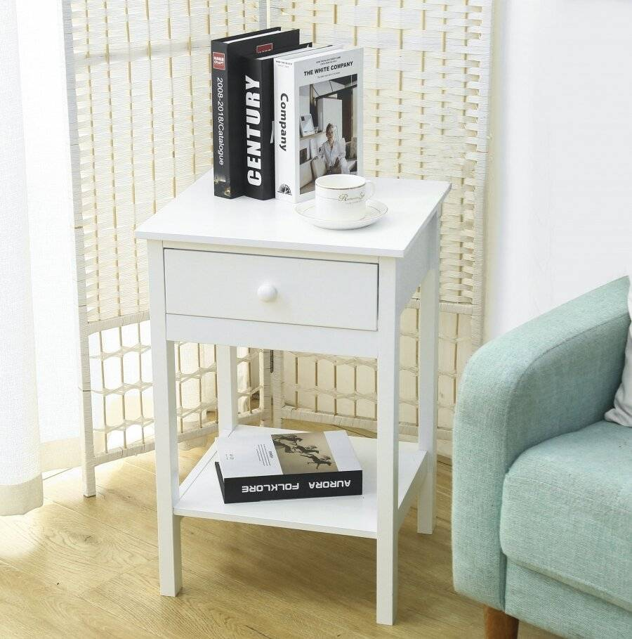 Woodluv Chic Bedside Storage Cabinet With Drawer and Shelf