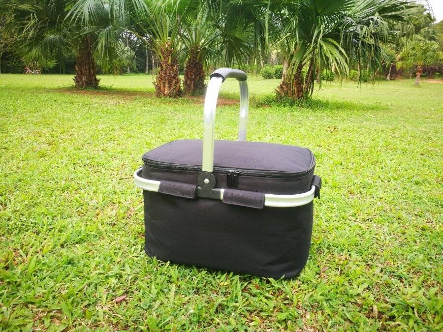 EHC Collapsible Insulated Picnic Cool Bag With Aluminium Handle, Black