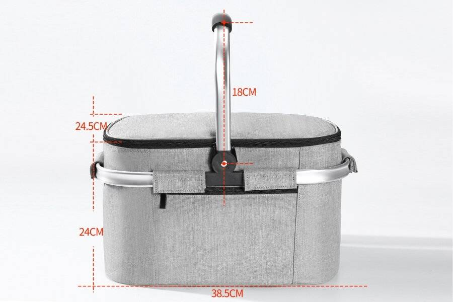 Woodluv Collapsible Picnic Cool Bag With Aluminium Handles - Grey