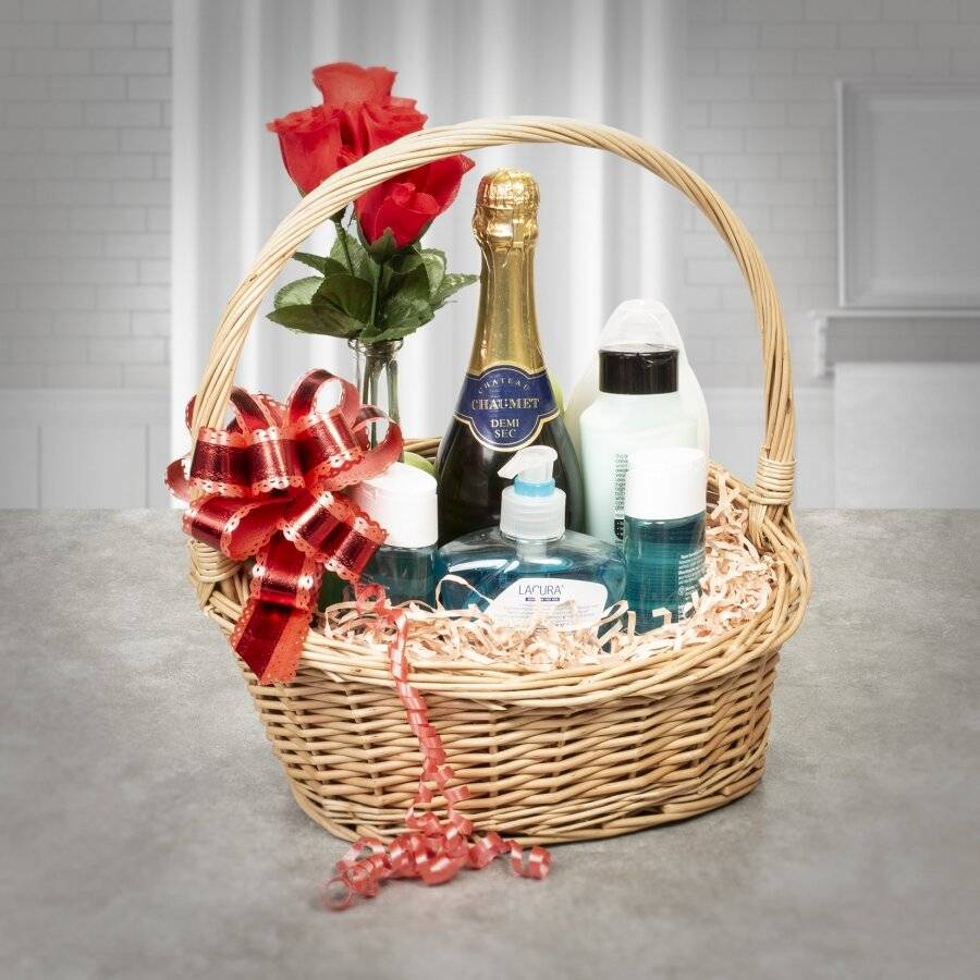 Woodluv Create Your Own Gift Hamper Round Wicker Basket With Handle