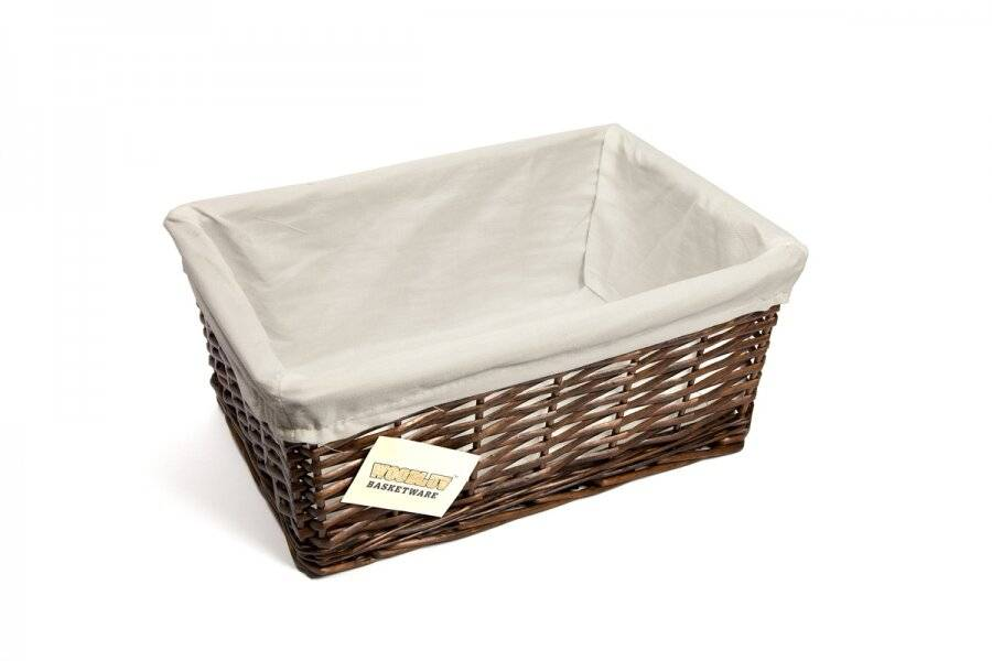 Woodluv Brown Wicker Storage Basket With Removable Lining - Medium