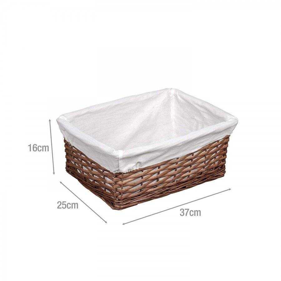 Woodluv Dark Brown Wicker Storage Basket With Lining - Medium