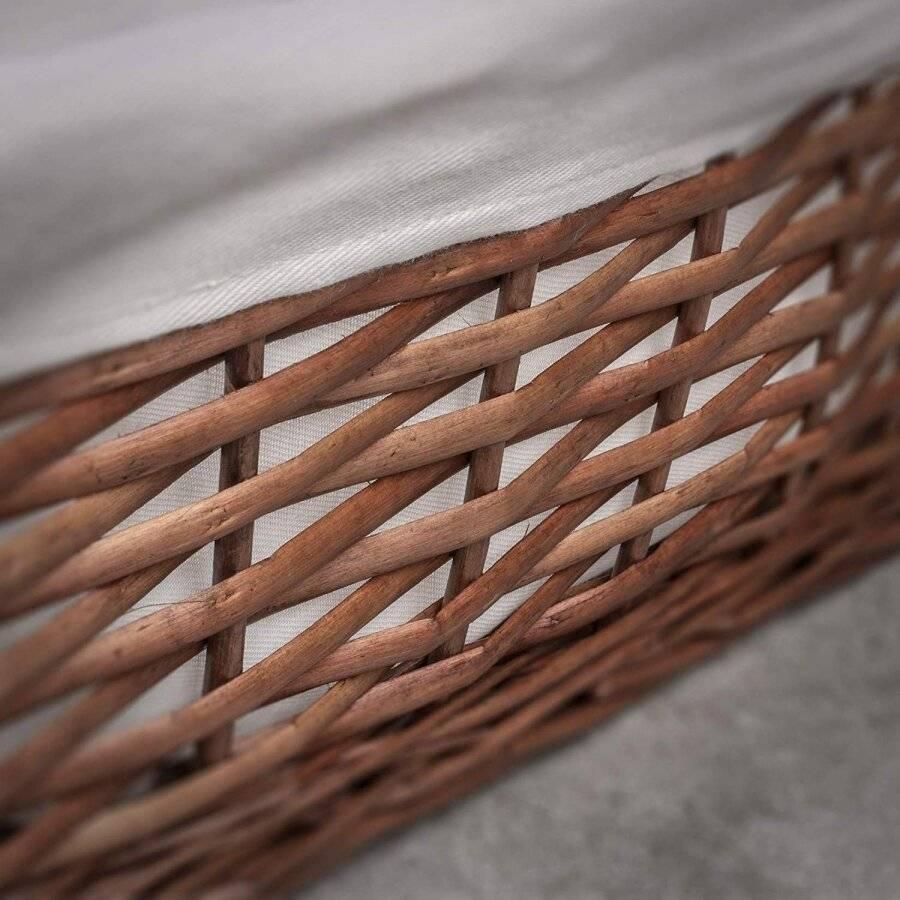 Woodluv Dark Brown Wicker Storage Basket With Lining - Small