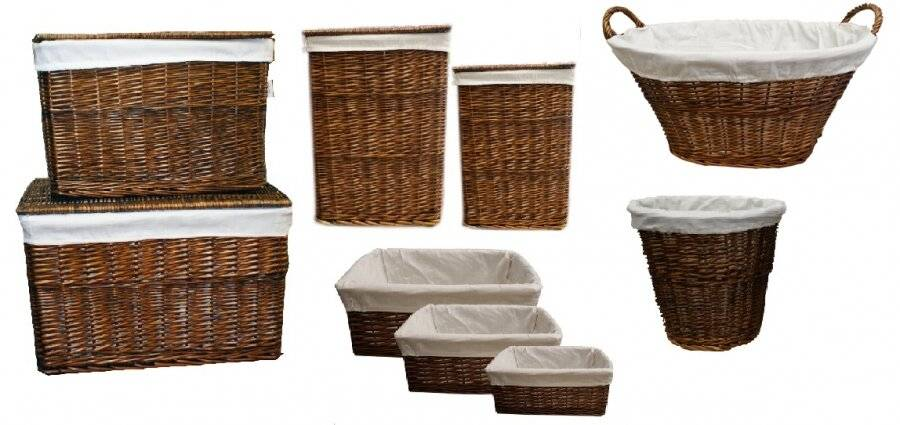 Woodluv Willow Oval Laundry Basket With Handle & Liner - Dark Brown