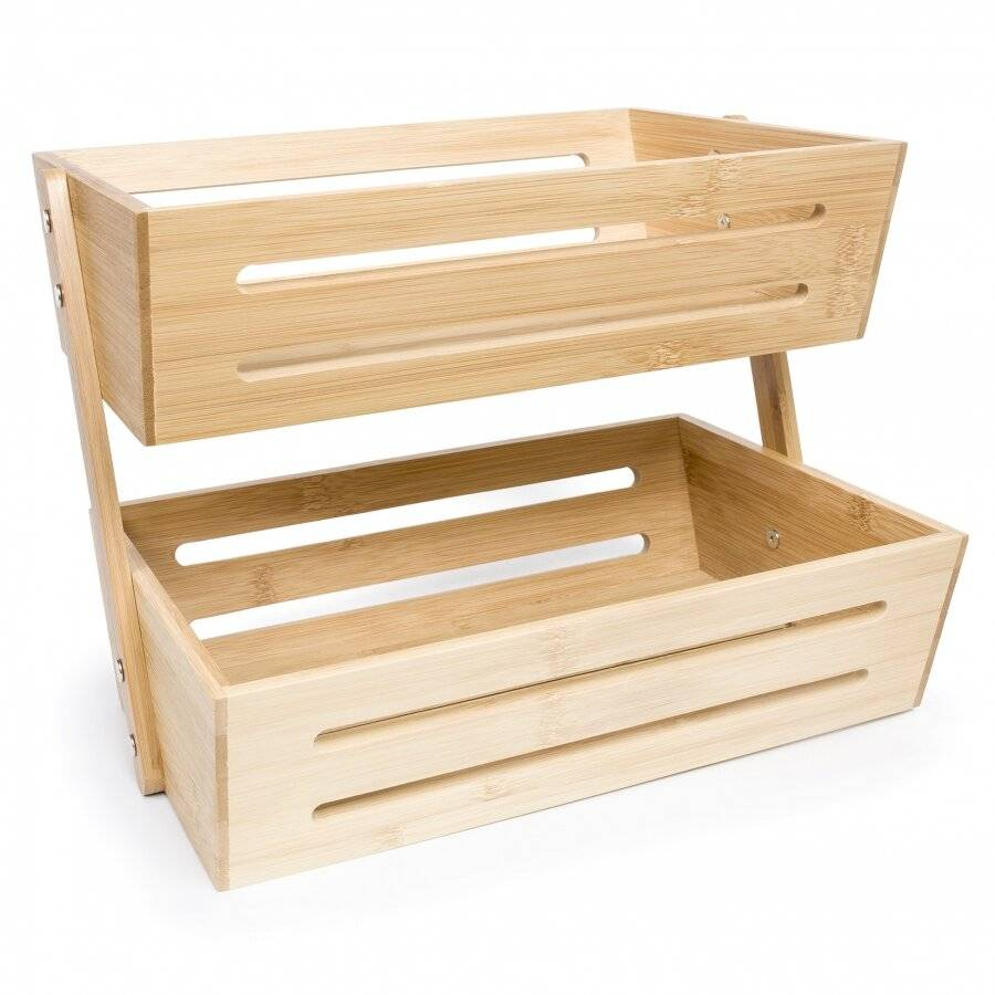 Woodluv Double Basket Storage Display Rack For Kitchen & Bathroom