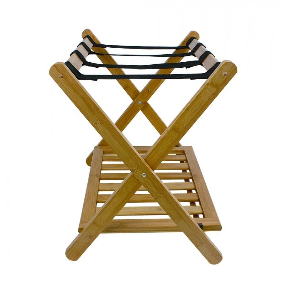 Woodluv Durable Bamboo Wood  Folding Luggage Rack/Suitcase Stand