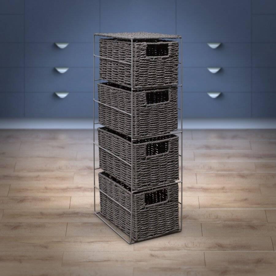 Woodluv Eco Friendly 4 Drawer Paper Rope Storage Unit, Grey