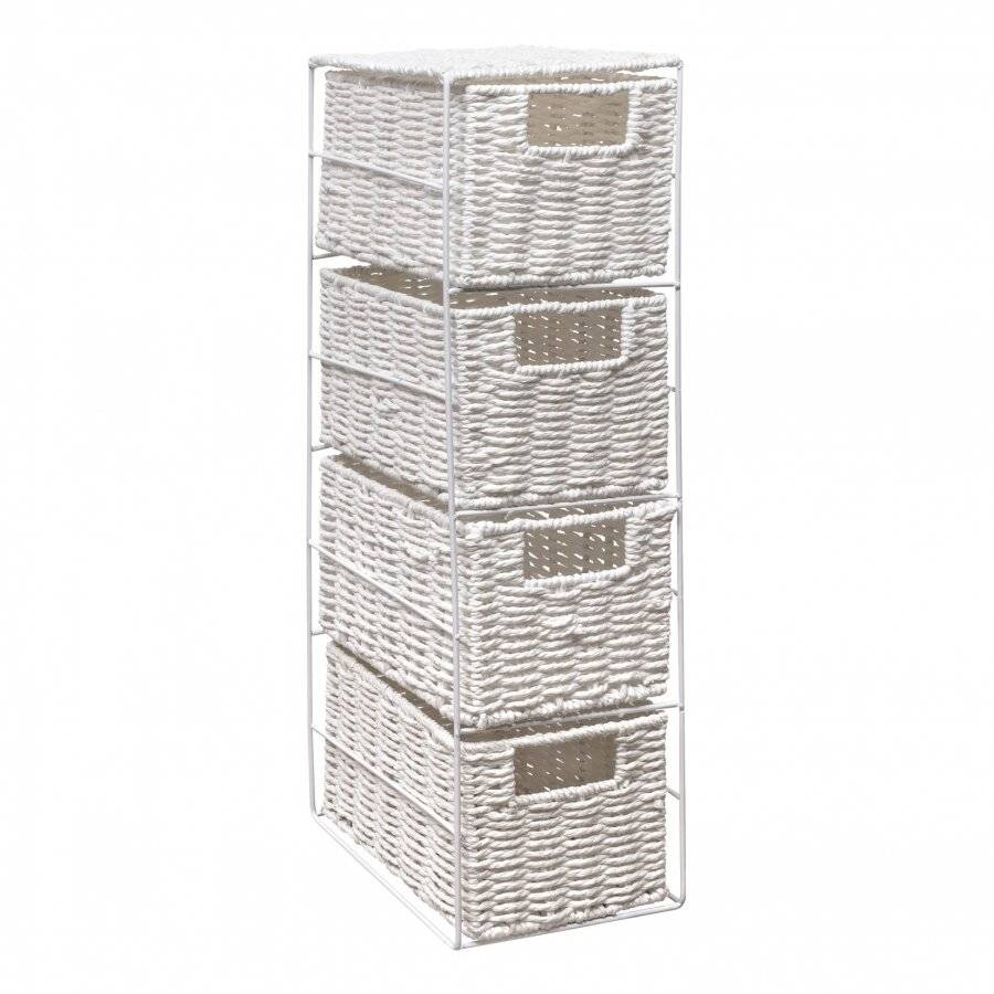 Woodluv Eco Friendly 4 Drawer Paper Rope Storage Unit, White