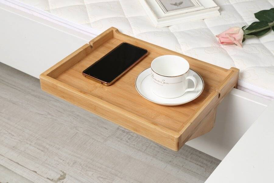 Woodluv Eco Friendly  Bamboo Clip-on Bed Side Tray - Natural