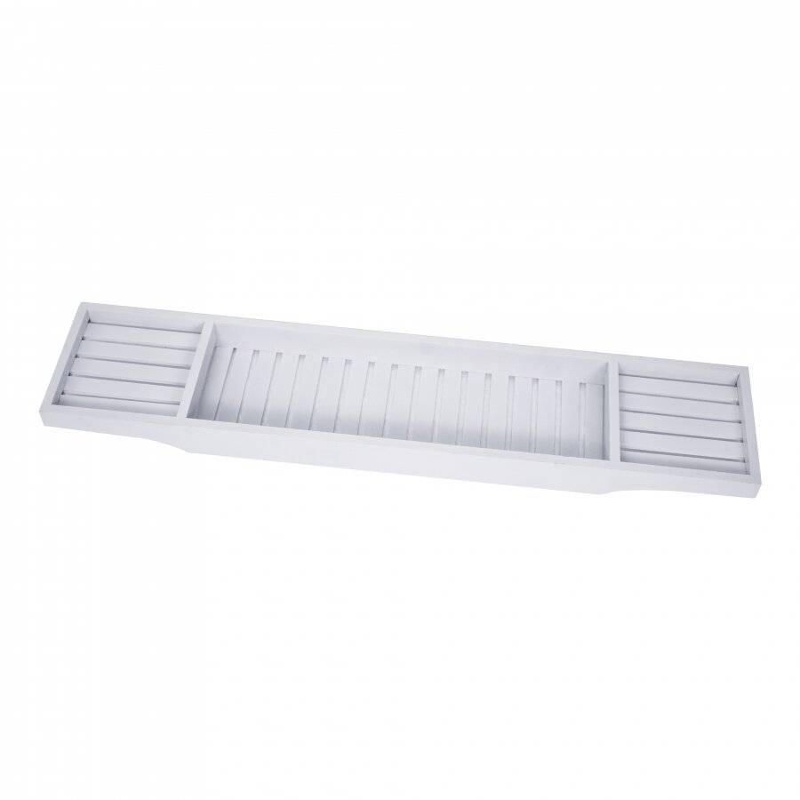 Woodluv Eco-Friendly Slimline Bamboo Bath Bridge - White