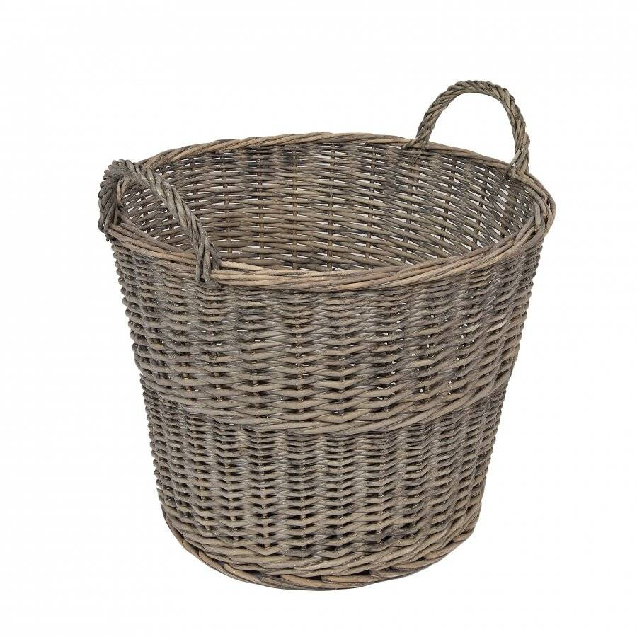 Woodluv Antique Finished, Handmade Round Willow Log Basket - Smoke