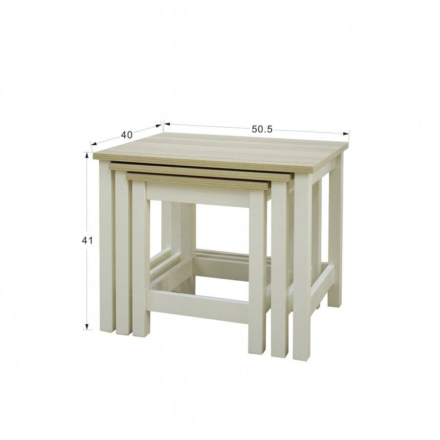 Woodluv Elegant Nest of 3 MDF Tables Bedside - Buttermilk