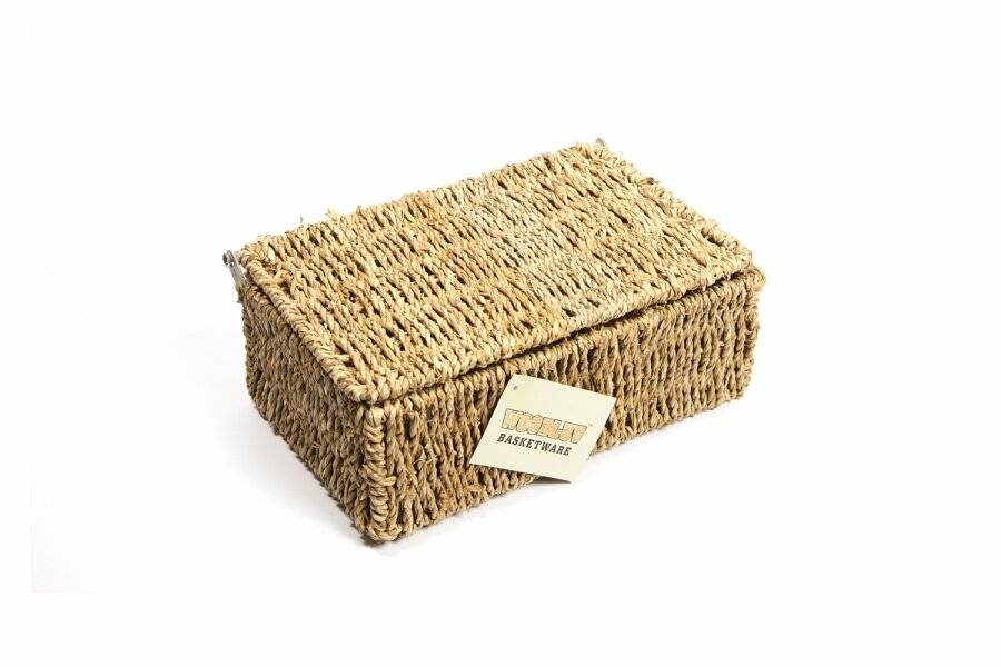 Woodluv Elegant Small Seagrass Storage Basket With Lid