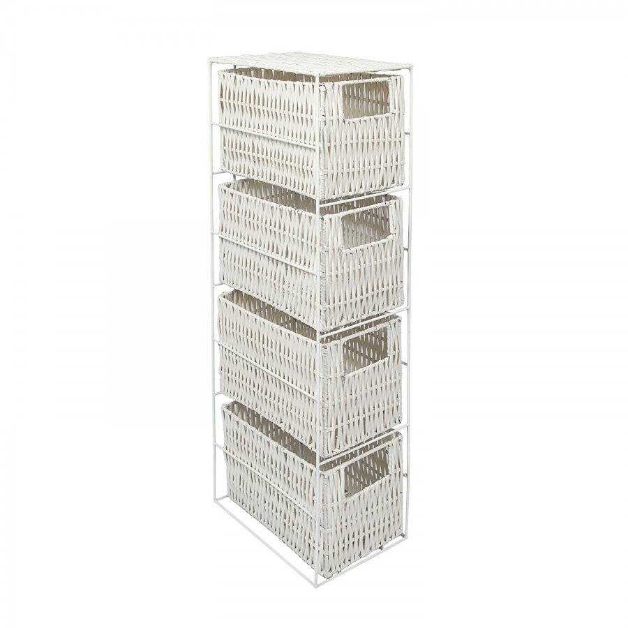 Woodluv Excellent 4 Drawer Natural Resin Storage Tower - White