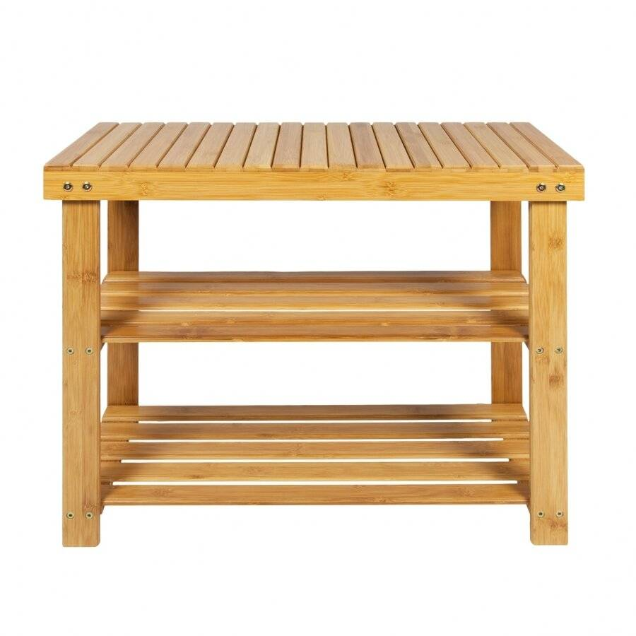 Woodluv  Excellent Quality 2 Tier Durable Bamboo Wood Shoe Organizer