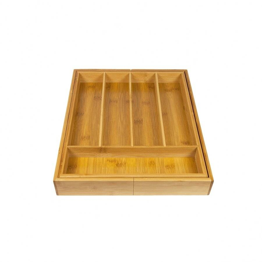 Woodluv Expandable 5-7 Compartments Bamboo Cutlery Drawer Organizer