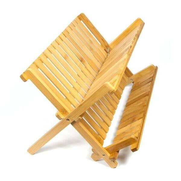 Woodluv Exquisite Bamboo Wood Folding Dish Drainer Unit