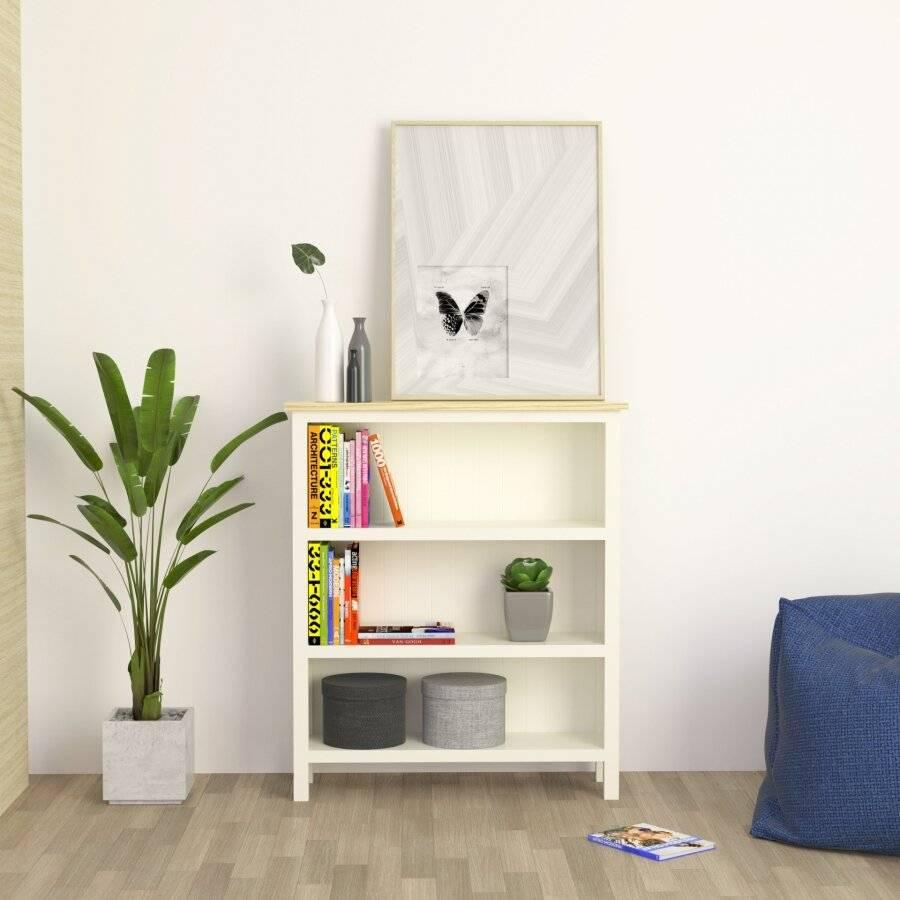 Woodluv  Exquisite Hallway, Three Tiers Bookshelf - Buttermilk