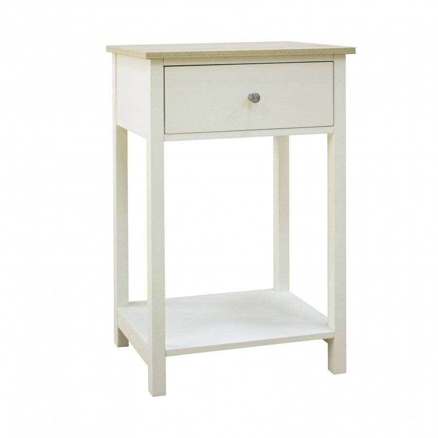 Woodluv Exquisite MDF Bedside Storage Table - Buttermilk & Wood