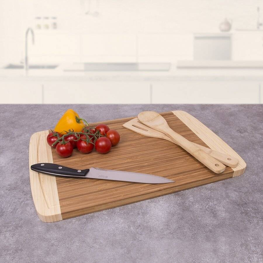 Woodluv Extra Large Chopping Boards With Juice Groove & 2 Cooking Utesils