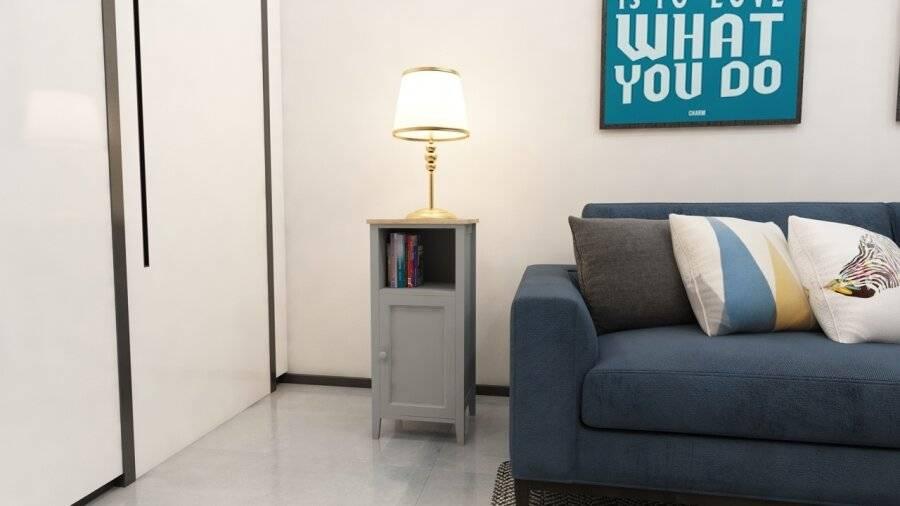 Space Saving Floor Standing Bedside Cabinet Storage Unit, MDF - Grey