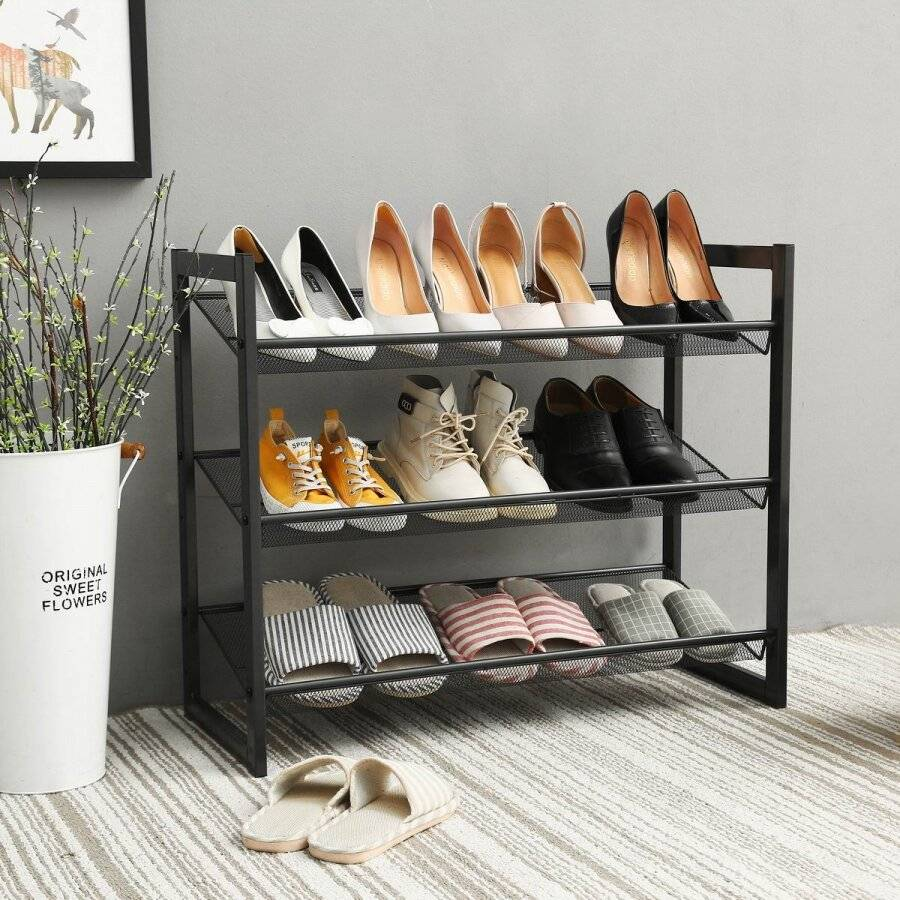 Woodluv Free Standing 3 Tier Bamboo Criss Cross Shoe Organizer