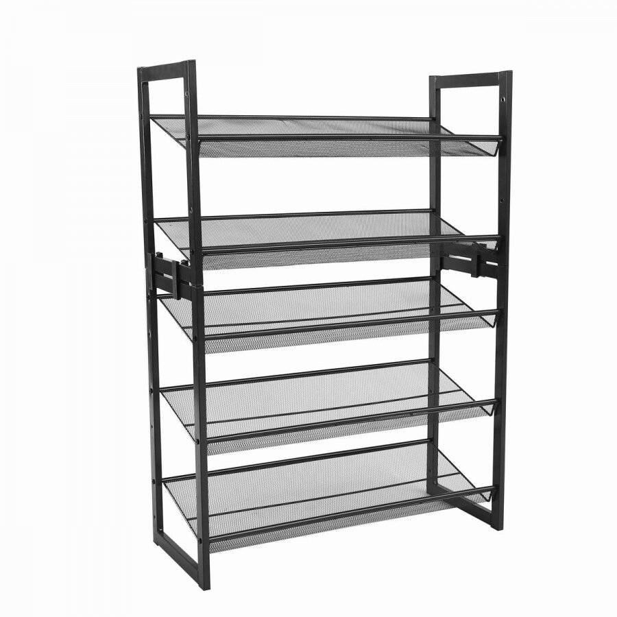 EHC 3 Tier Stackable Metal Steel Mesh Shoe Rack - Grey