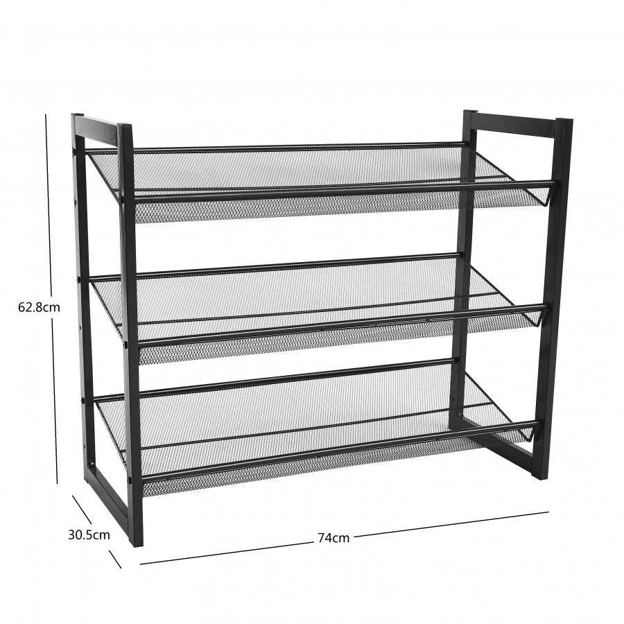 Woodluv 3 Tier Stackable Metal Steel Mesh Shoe Rack - Grey