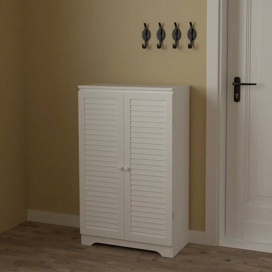 Woodluv Free Standing MDF Louvered Shoe Storage Cabinet-White