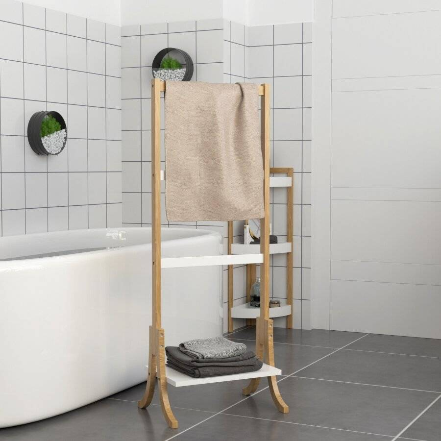 Woodluv Free Standing Towel Rack/ Cloth Stand With 3 Rails & Shelf