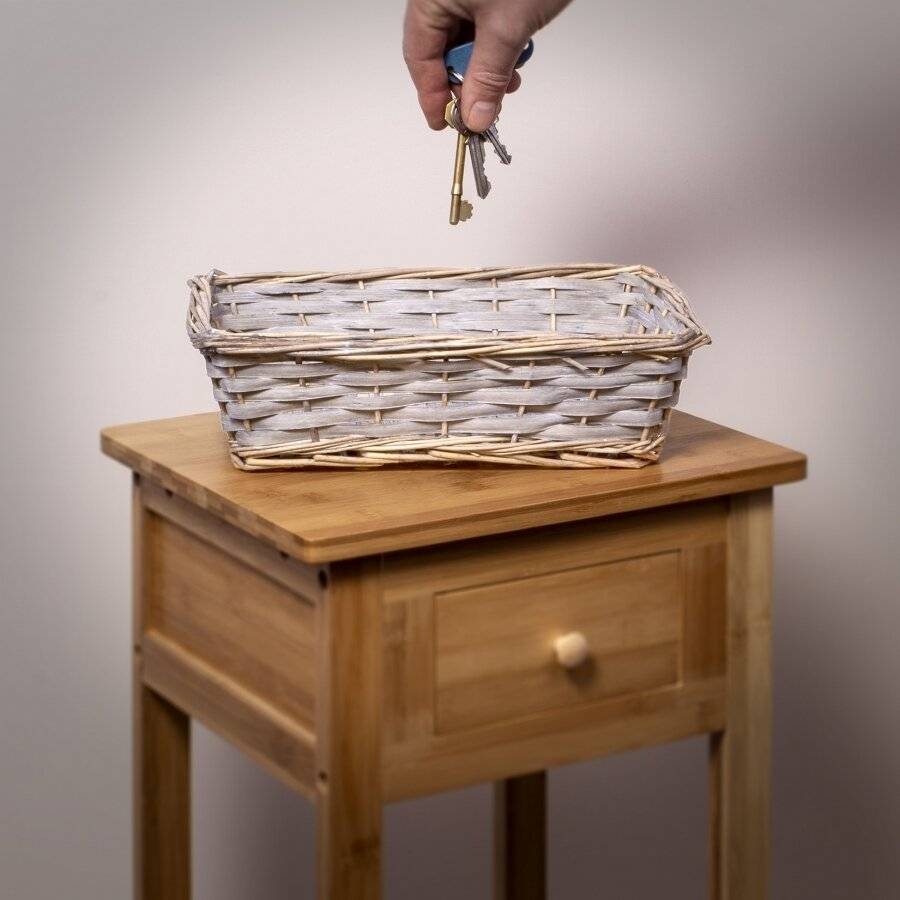 Woodluv Hand Made Set Of 5 Rectangular Wicker Storage Basket, Grey
