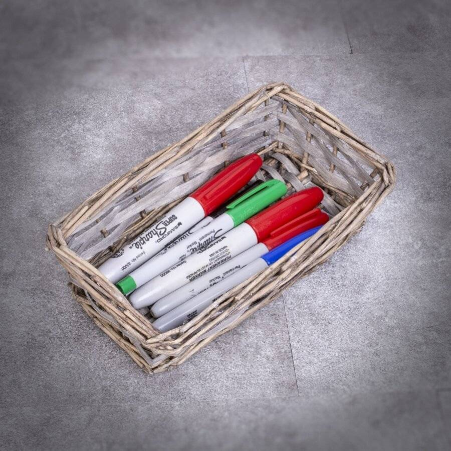 Woodluv Hand Made Set of 5 Rectangular Wicker Storage Baskets, Grey