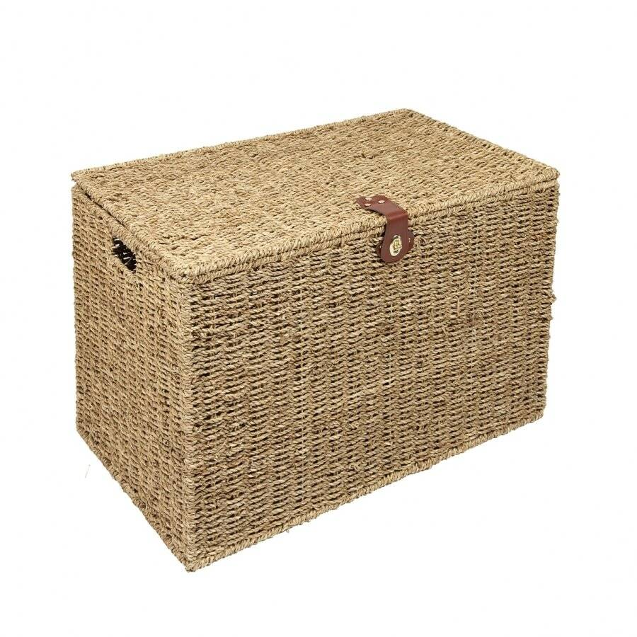 Woodluv Handwoven Natural Seagrass Storage, Laundry Basket - Large
