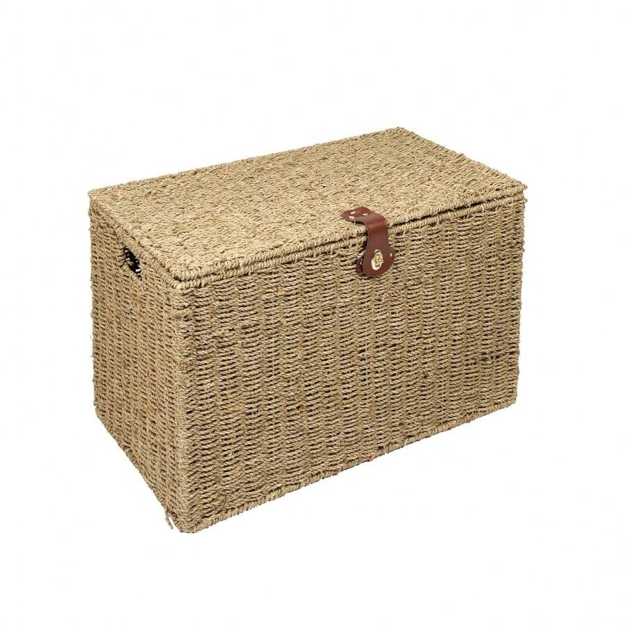 Woodluv Hand Woven Natural Seagrass Storage laundry Basket-Medium