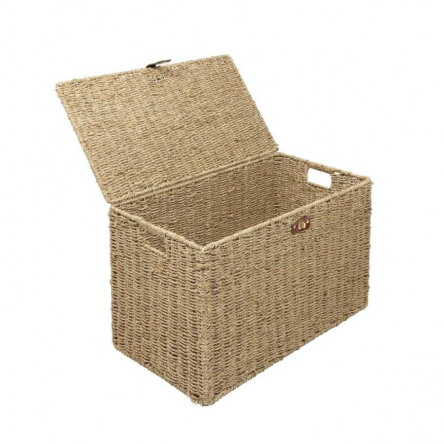 Woodluv Handwoven Natural Seagrass Storage, Laundry Basket - Medium