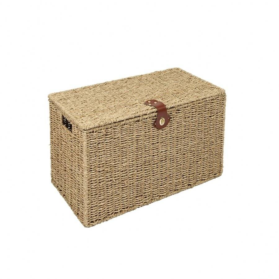 Woodluv Handwoven Natural Seagrass Storage, Laundry Basket - Small