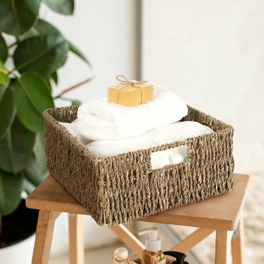 Woodluv Hand Woven Set Of 3 Square Natural Seagrass Square Storage Basket