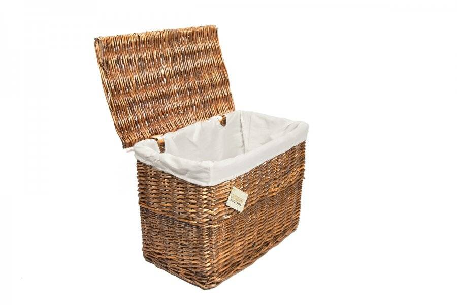 Woodluv Medium Wicker Storage Trunk With Lid & Removable Lining, Brown