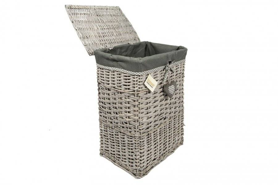 Woodluv Large Grey rectangular Wicker laundry Basket With  Lining