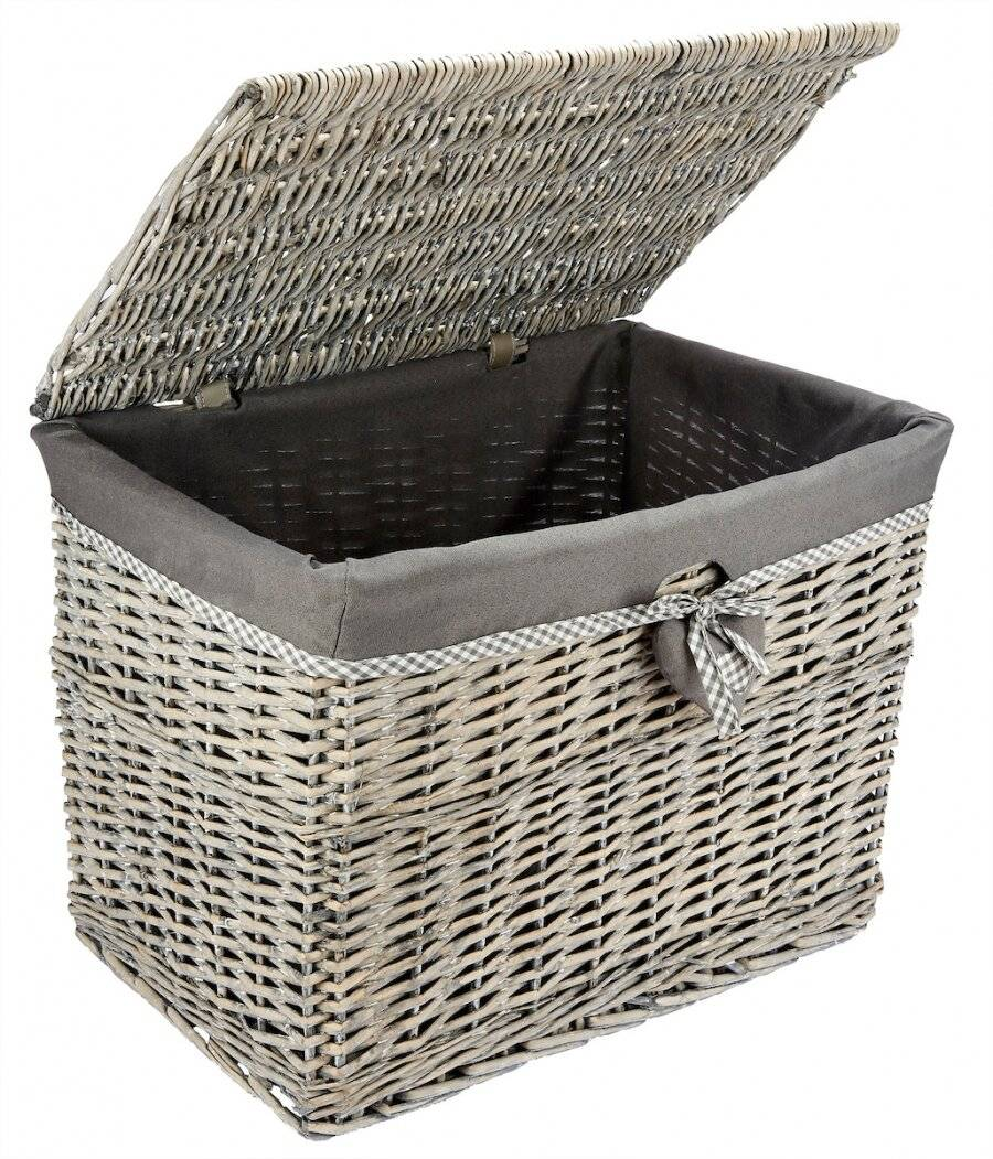 Woodluv Large Grey Rectangular Wicker Storage Trunk With Lining