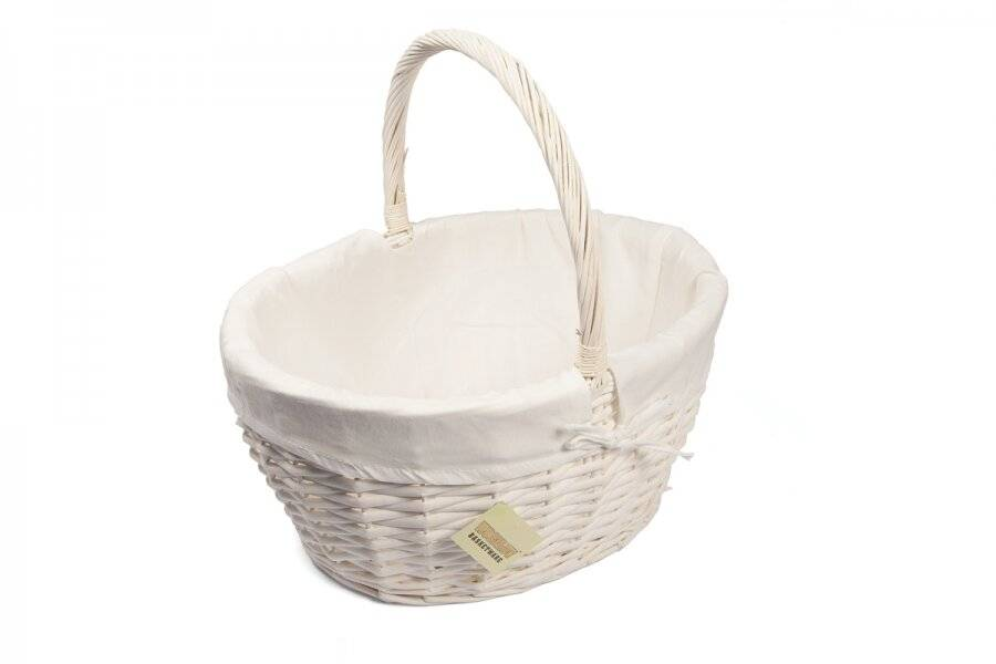 Woodluv Large Oval Wicker Storage Basket With Lining & Handle - White