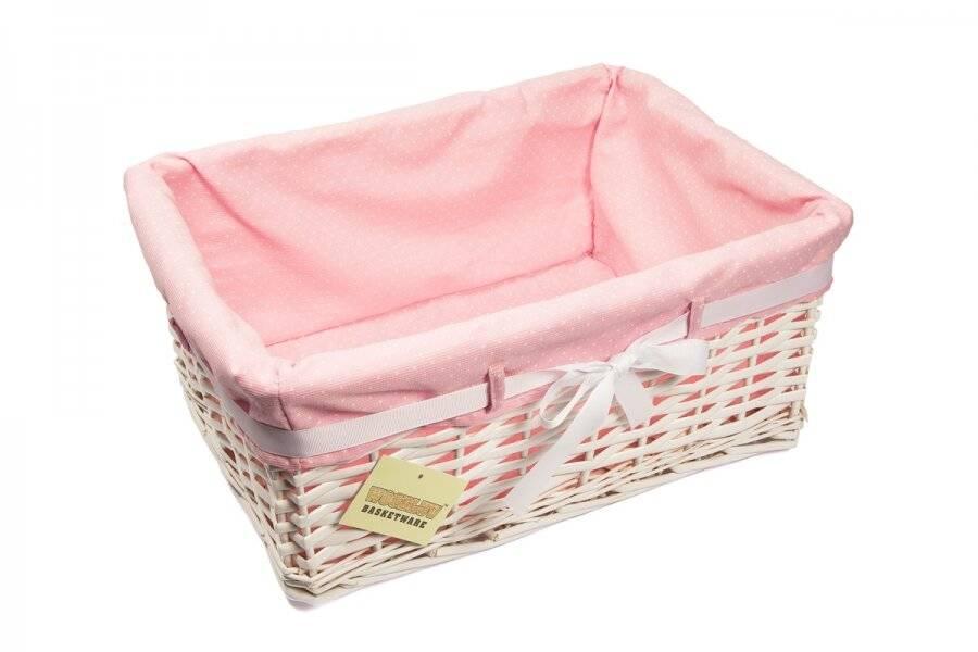 Woodluv Large Rectangular White Willow Basket With Pink Dot Lining & Ribbon